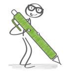 Lebenserinnerungen ordnen: Strichmännchen mit Stift